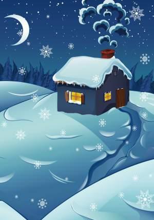 夜晚雪屋背景装饰