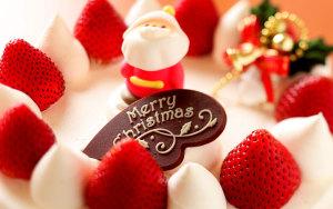 浪漫草莓圣诞蛋糕背景图
