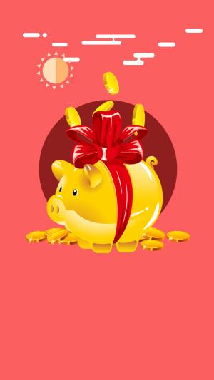 金币储钱罐红色背景