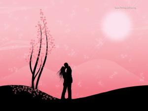 粉色浪漫爱情背景接吻图