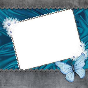 蓝色小蝴蝶剪贴板清新背景