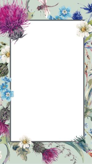 手绘花朵纸张H5背景