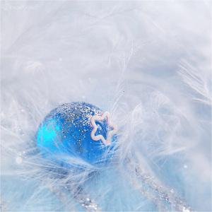 羽毛蓝色水晶球圣诞海报背景素材