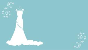 唯美白色婚纱蓝底背景素材