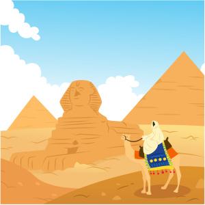 卡通骆驼埃及金字塔背景素材