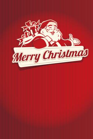 红色竖纹白色圣诞剪影节日海报背景素材