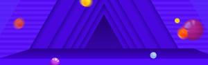 蓝色三角形条纹电商banner背景素材