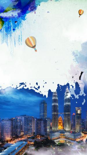 新加坡风景PSD分层H5背景素材
