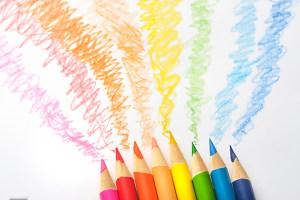 彩色画笔舞台背景素材