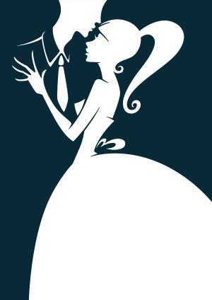 男女婚姻白色婚纱黑色西装浪漫典雅背景素材