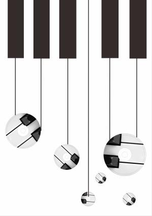 黑白经典色音乐海报矢量背景素材