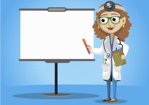 卡通医生讲解白板背景素材