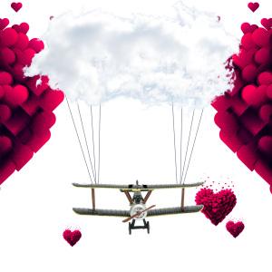 边框纹理  飞机爱心海报背景素材