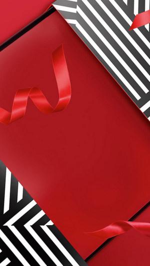 黑白斑马线红色彩带背景