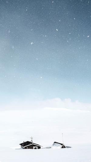 蓝天白雪冬季风景APP手机端H5背景