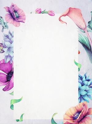 浪漫热情花朵白纸公告通知祝福贺卡信纸背景