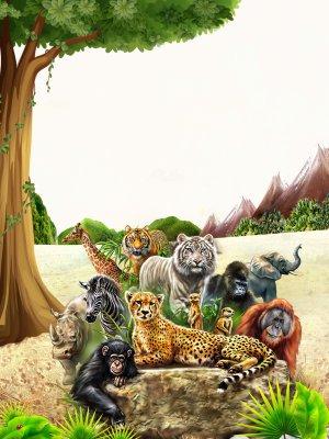 保护动物公益海报背景模板