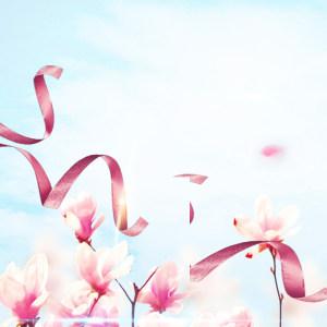 文艺粉色花朵丝带PSD分层主图背景素材