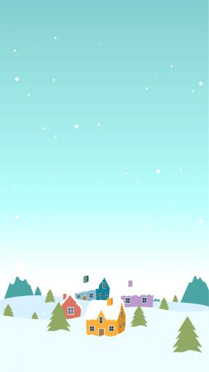 白色雪冬城矢量图片