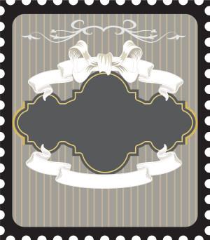 手绘白色蝴蝶结丝带灰色条纹背景素材