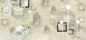 简约手绘蒲公英3D音符砖墙电视背景