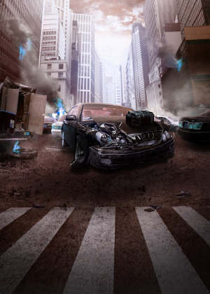 大气爆炸汽车咖啡色背景素材