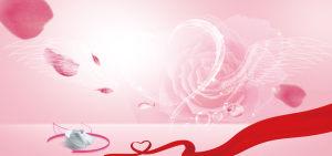 粉色系感恩红绸带护士节简约梦幻背景