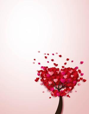 矢量创意立体心形爱情树背景素材