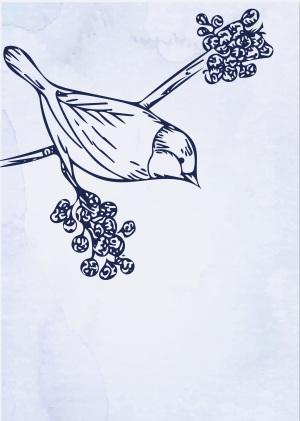版画鸟类素色质感海报背景素材