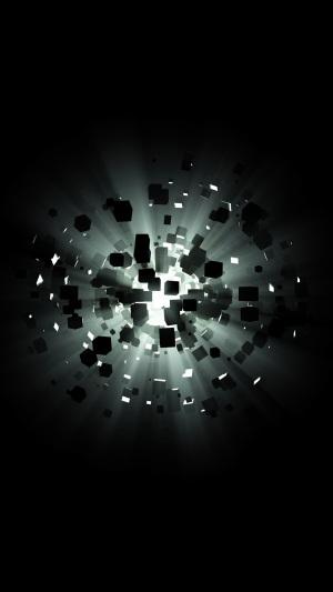 方块爆炸光线科技背景