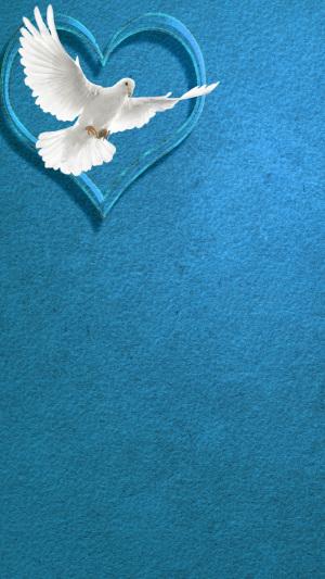 蓝色和平白鸽质感背景
