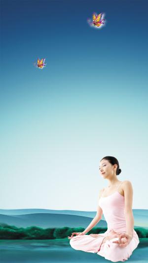 美女瑜伽PSD分层H5背景素材
