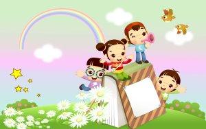 幼儿园招生简章板报可爱卡通草地彩虹背景图