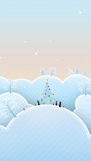 白色雪地圣诞背景图