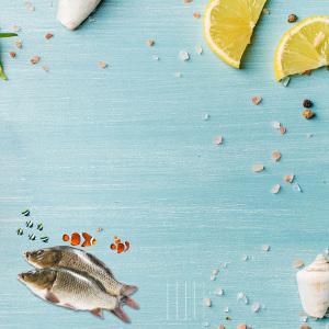 深海贝壳生鲜鱼类柠檬热带鱼宣传海报背景