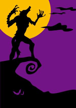 紫色卡通狼人海报背景素材