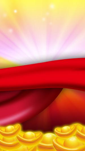 红色丝带金币PS源文件H5背景