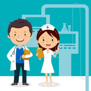 护士节卡通医生护士海报背景