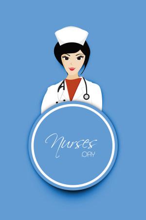 护士节扁平化蓝色背景素材