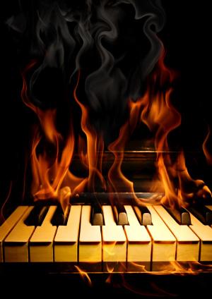 钢琴火焰背景素材