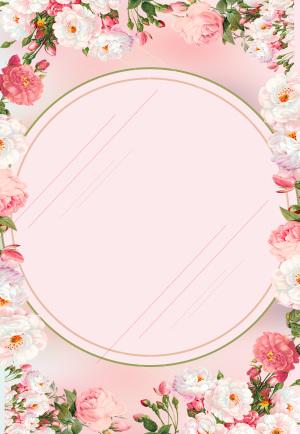 粉色唯美花卉38妇女节促销背景素材