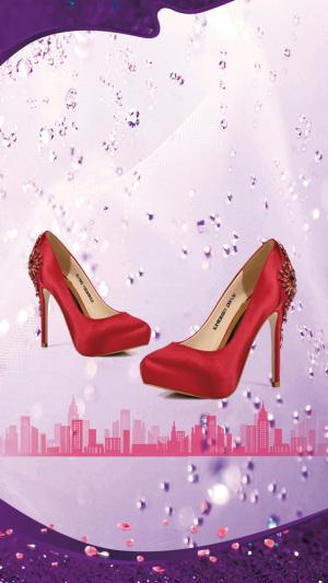 彩色花瓣高跟鞋PS源文件H5背景素