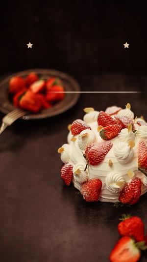 梦幻草莓蛋糕PS源文件H5背景