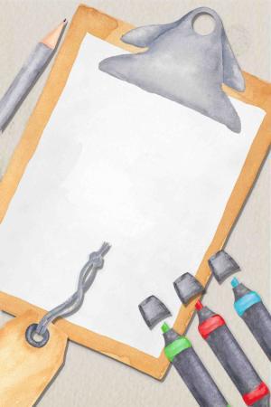 书房文具办公水彩手绘广告背景