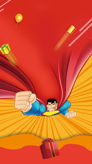 红色中国风超人PS源文件H5背景素材