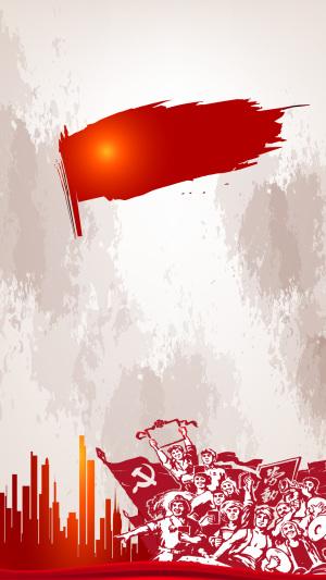 红色51劳动节PS源文件H5背景素材