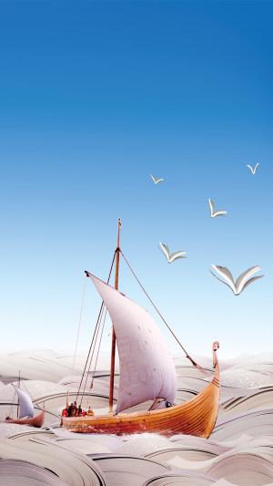 蓝天大海船舶PS源文件H5背景素材