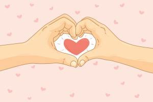 创意浪漫爱心手势矢量背景