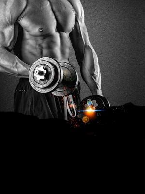 激情健身肌肉霸气健身海报背景模板
