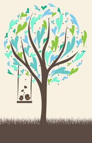 卡通童趣布谷鸟爱情树矢量背景
